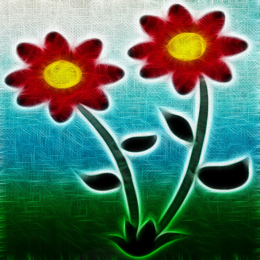 Red Flowers - Digitally Created And Altered With A Filter Drawing  - Red Flowers - Digitally Created And Altered With A Filter Fine Art Print