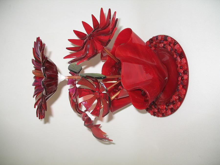 Red Flowers Glass Art