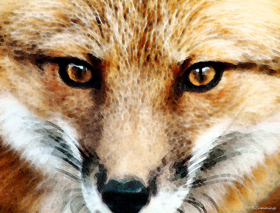 Red Fox Art - Foxy Eyes Painting