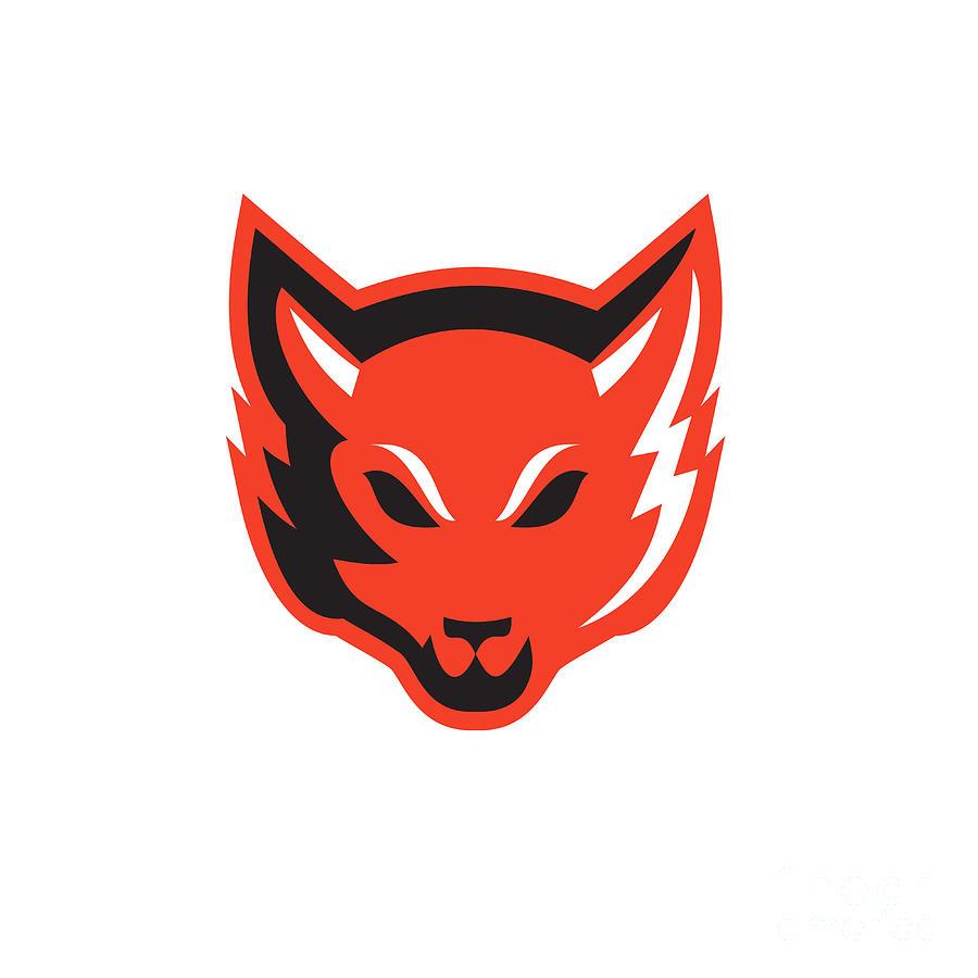 Red Fox Head Front  Digital Art