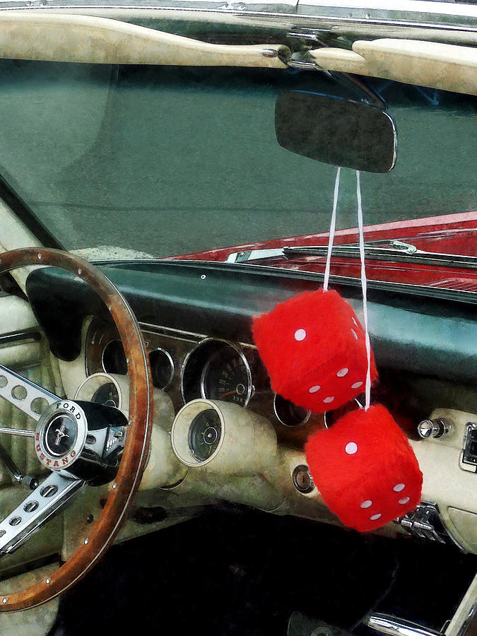 Red Fuzzy Dice In Converible Photograph  - Red Fuzzy Dice In Converible Fine Art Print