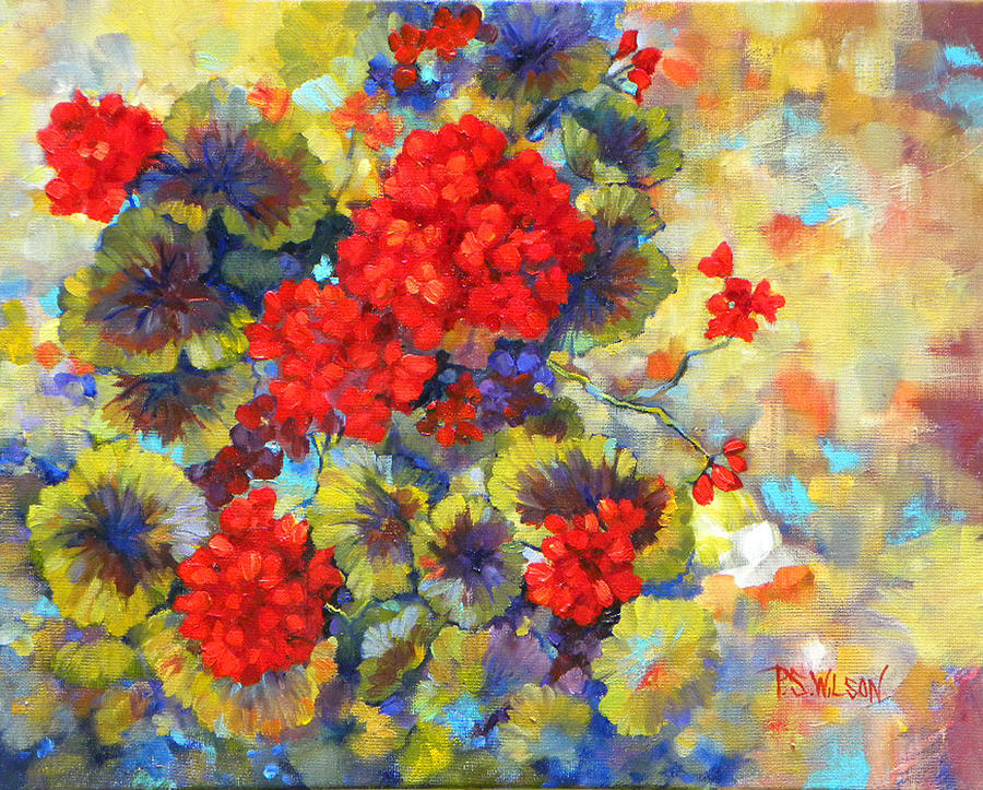 Geraniums Painting - Red Geraniums II by Peggy Wilson