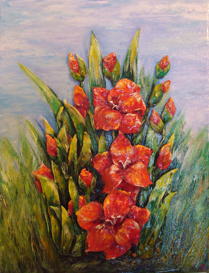 Red Gladiolus Painting by Raya Finkelson