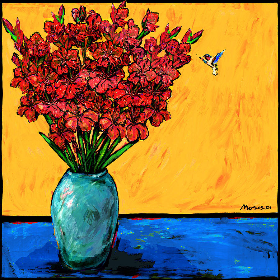 Red Glads With Hummingbird Painting  - Red Glads With Hummingbird Fine Art Print