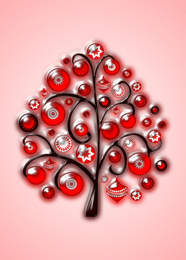 Red Glass Ornaments Digital Art  - Red Glass Ornaments Fine Art Print