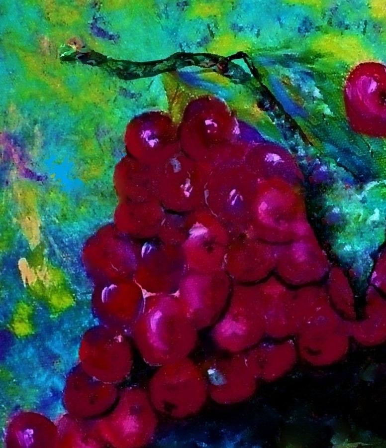 Red Grapes Oh My My Painting  - Red Grapes Oh My My Fine Art Print