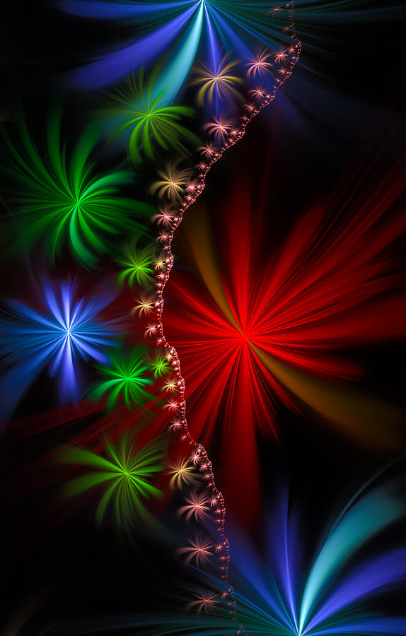 Red Green And Blue Fractal Stars Digital Art