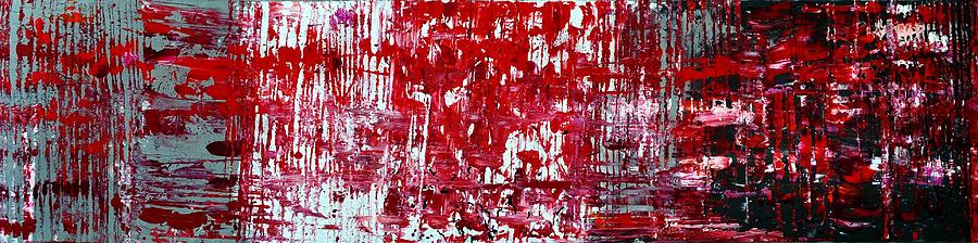 Red Grey White And Black Painting  - Red Grey White And Black Fine Art Print