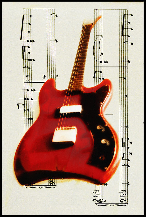 Red Guitar Photograph  - Red Guitar Fine Art Print