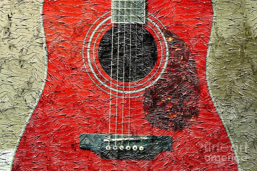 Red Guitar Center - Digital Painting - Music Photograph