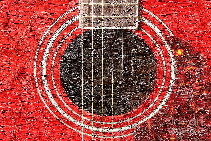 Red Guitar - Digital Painting - Music Photograph