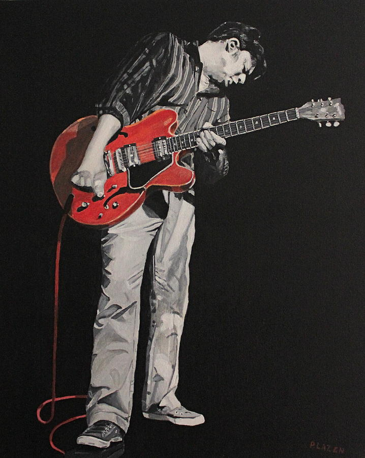 Music Painting - Red Guitar by Patricio Lazen