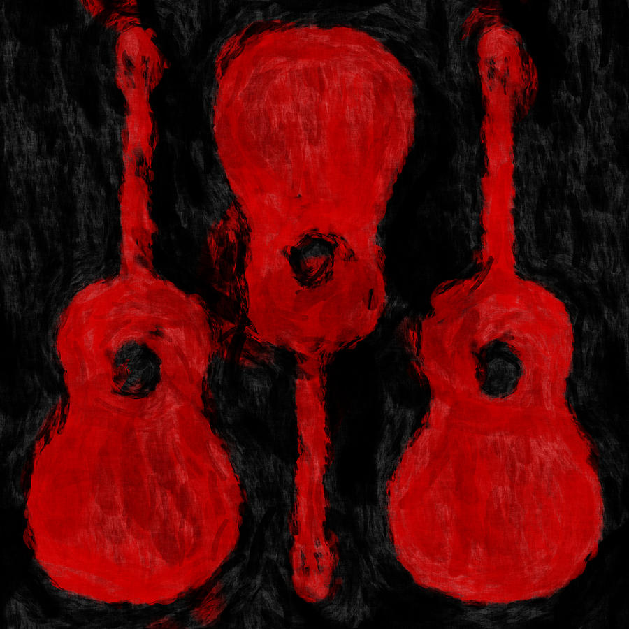Red Guitars Digital Art