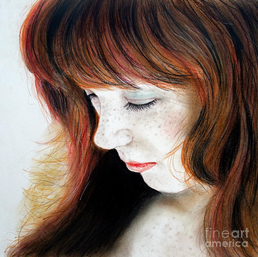 Red Hair And Freckled Beauty II Drawing