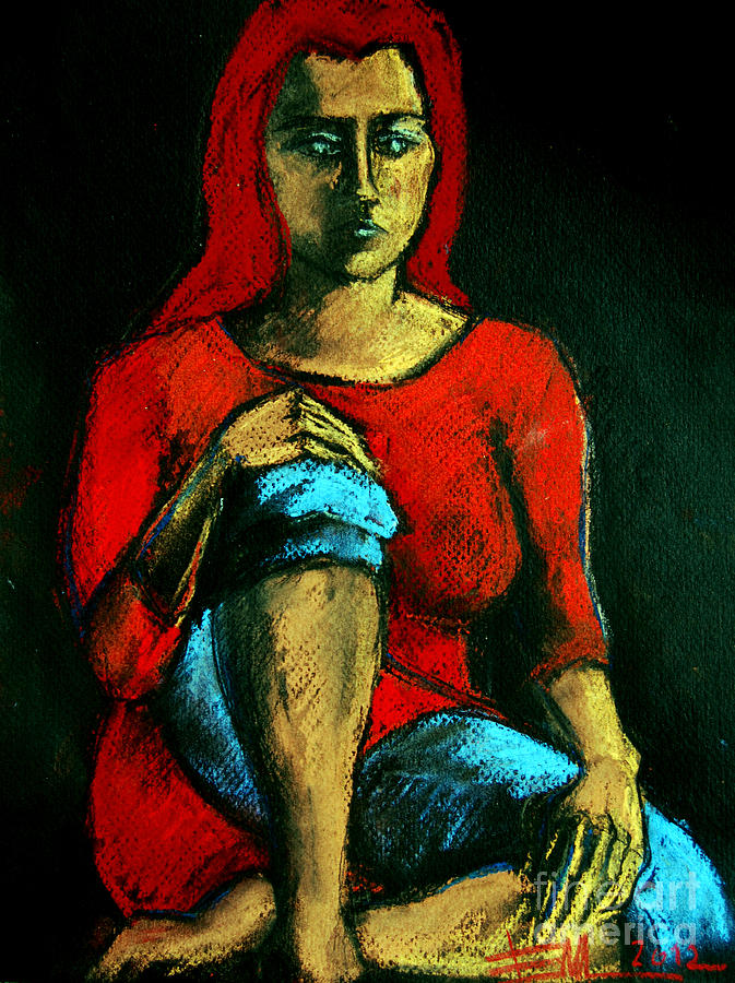 Red Hair Woman Painting
