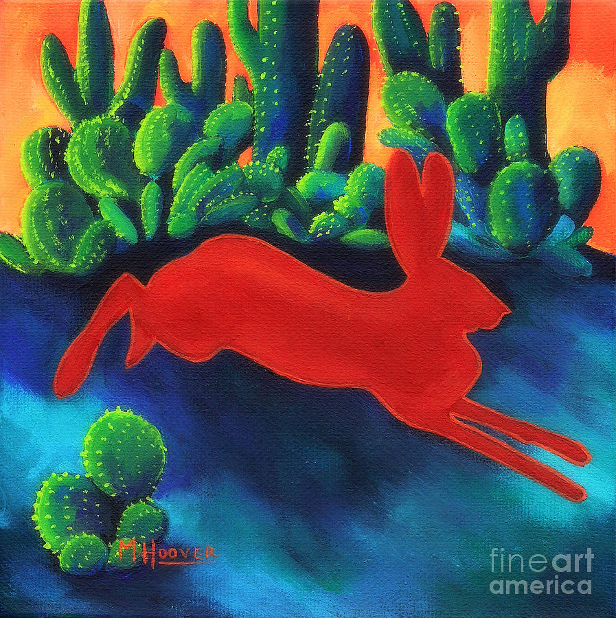 Red Hare Silhouette Painting