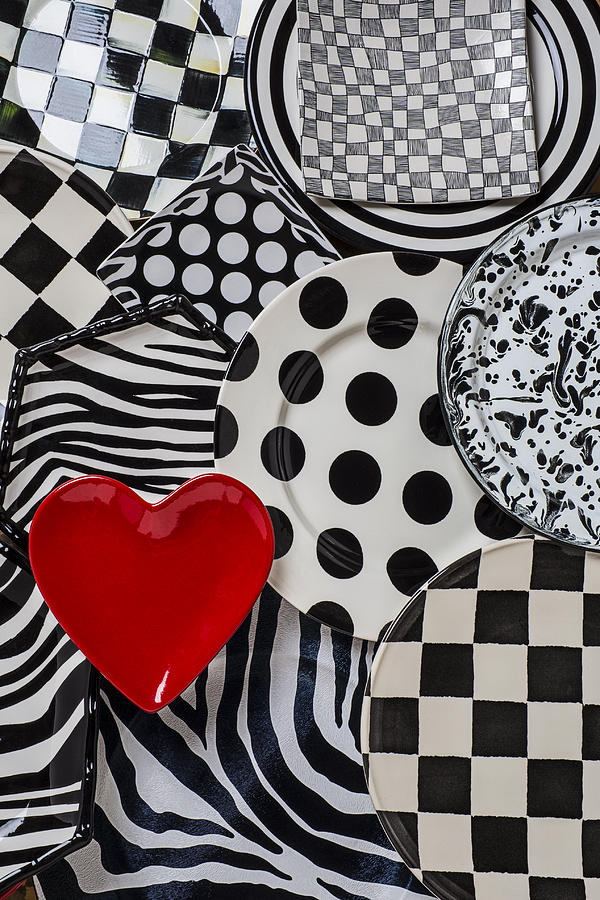 Red Heart Plate On Black And White Plates Photograph  - Red Heart Plate On Black And White Plates Fine Art Print