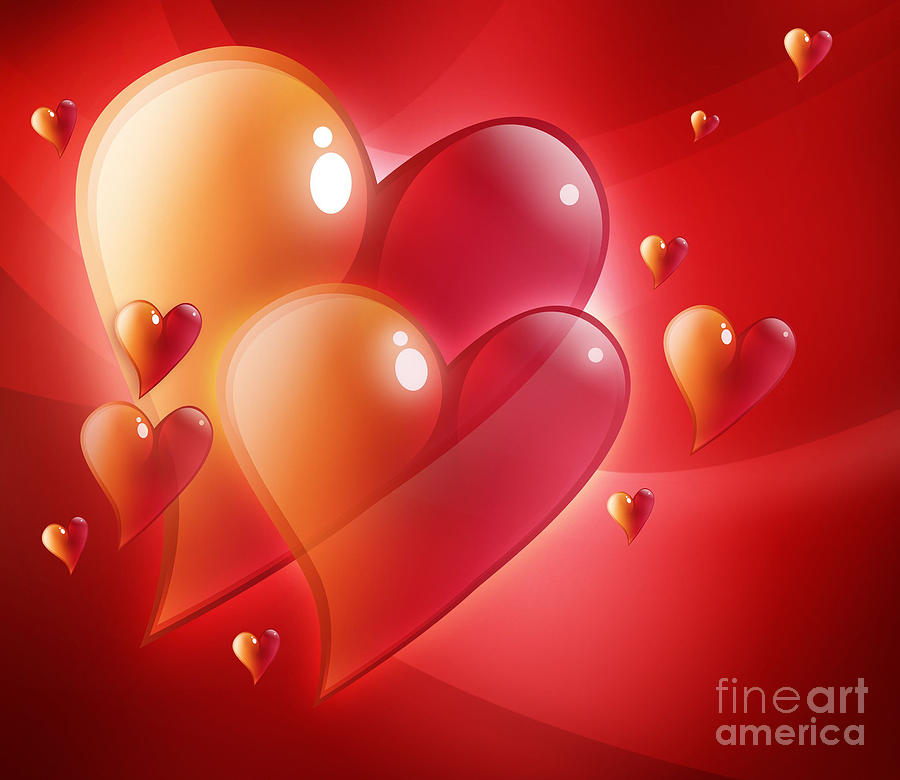 Red Hearts In Love Digital Art