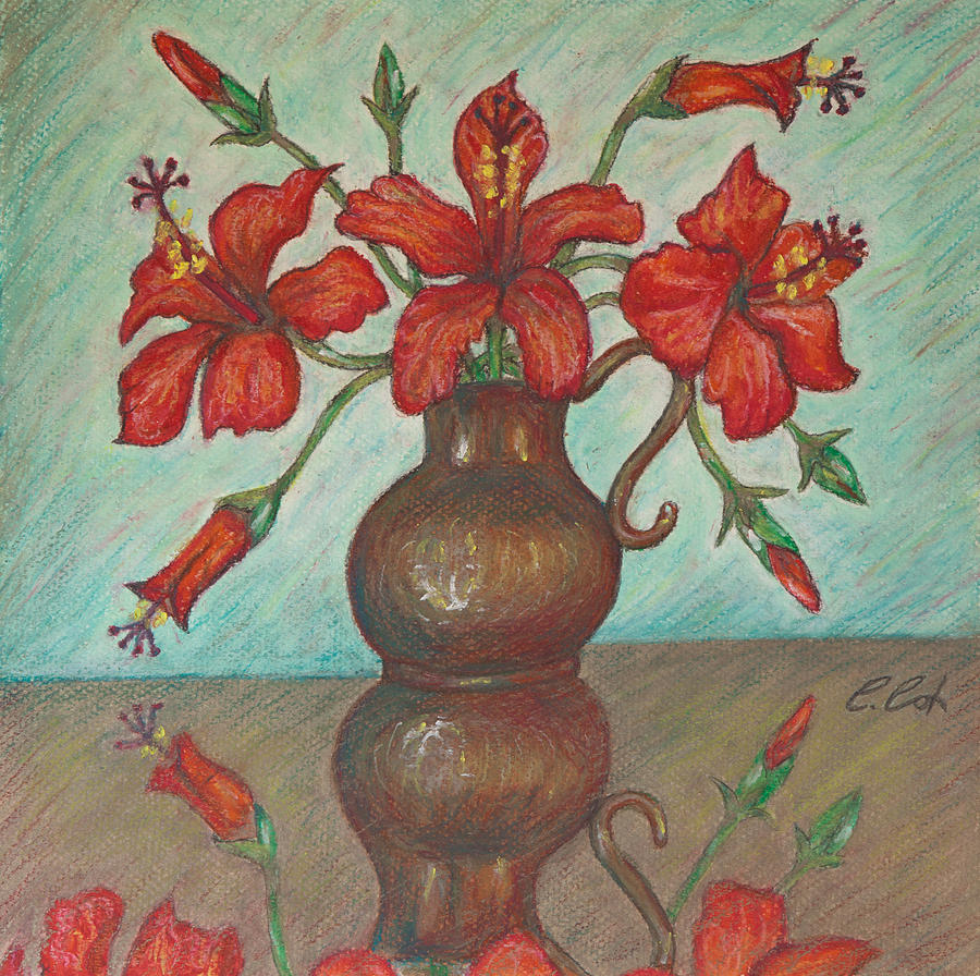 Red Hibiscus With Blue Background Painting