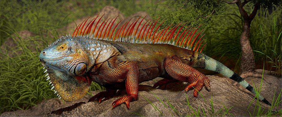 Red Iguana Digital Art by Anthony Weinedel