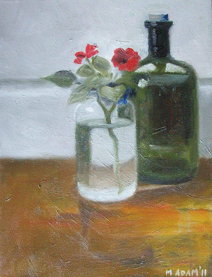 Still Life Painting - Red Impatiens by Mary Adam