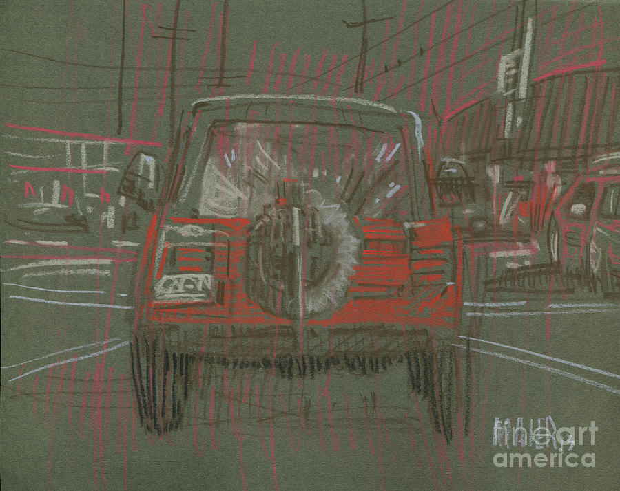 Red Jeep Drawing  - Red Jeep Fine Art Print