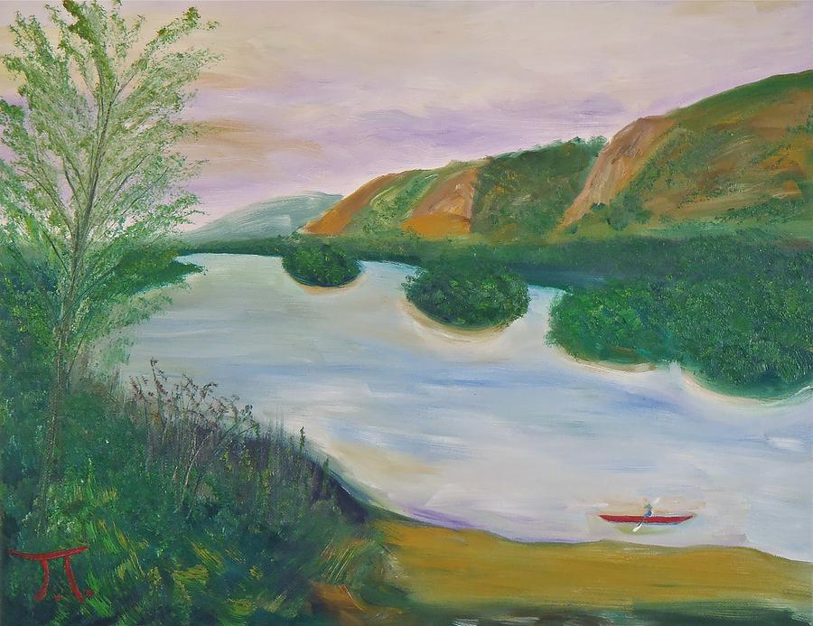 Red Kayak Painting
