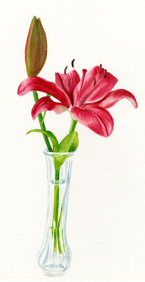 Red Painting - Red Lily In A Vase by Sharon Freeman