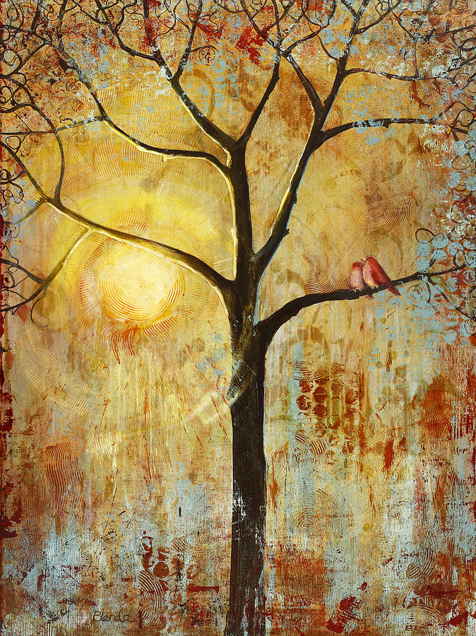 Red Love Birds In A Tree Painting  - Red Love Birds In A Tree Fine Art Print