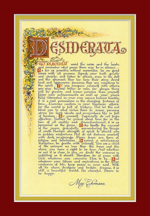 Red Matted Florentine Desiderata Poster by Claudette Armstrong: fineartamerica.com/featured/red-matted-florentine-desiderata-poster...