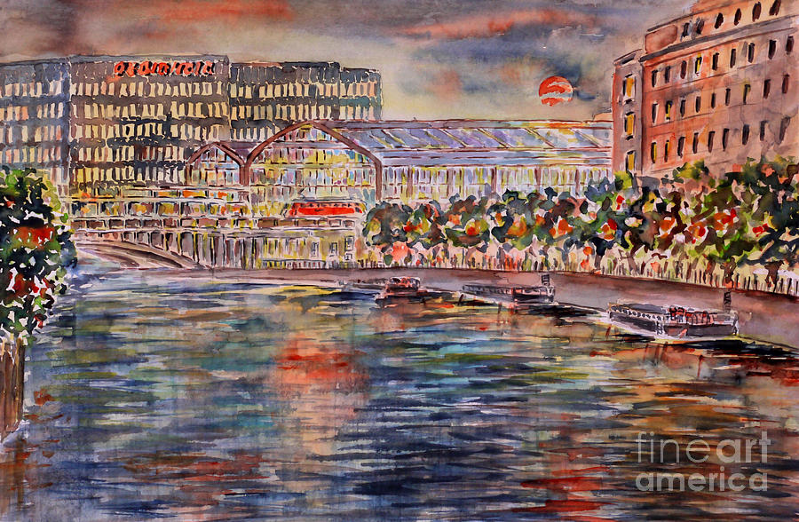 Red Moon Over Berlin Painting  - Red Moon Over Berlin Fine Art Print