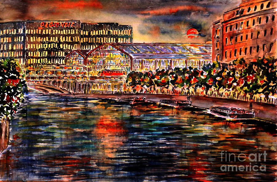 Red Moon Over Berlin II Painting  - Red Moon Over Berlin II Fine Art Print