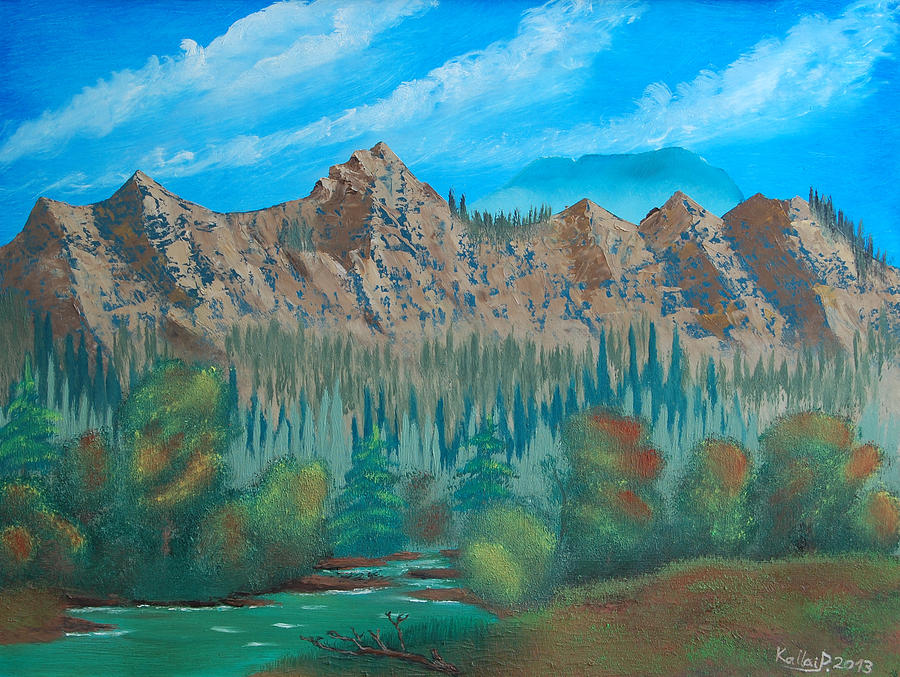Landscape Painting - Red Mountain Creek by Peter Kallai