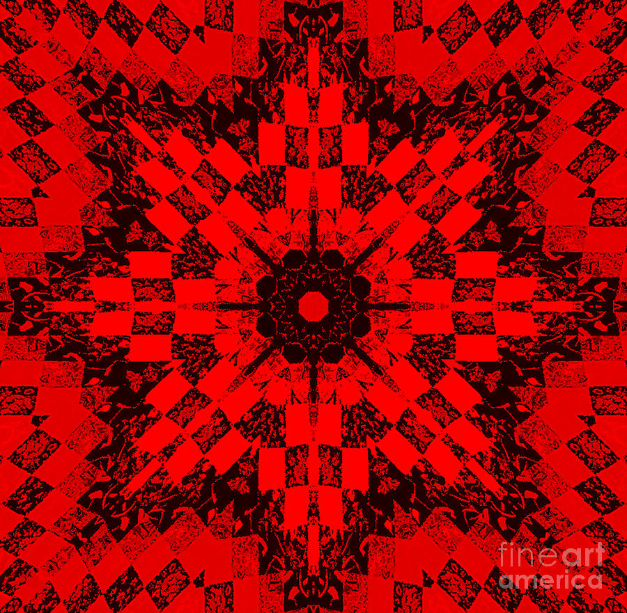 Red Patchwork Art Photograph