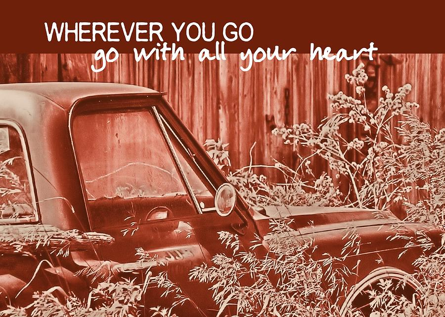 Red Pickup Quote Photograph  - Red Pickup Quote Fine Art Print