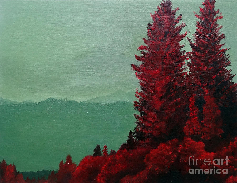 Red Pines In Contrast Painting
