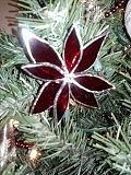 Red Poinsettia Ornament Glass Art