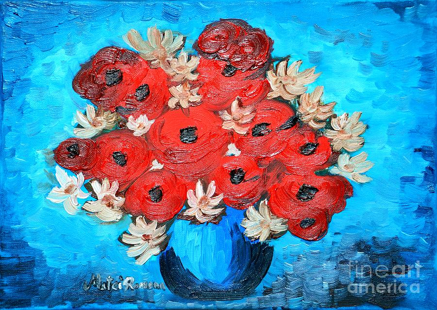 Poppies Painting - Red Poppies And White Daisies by Ramona Matei