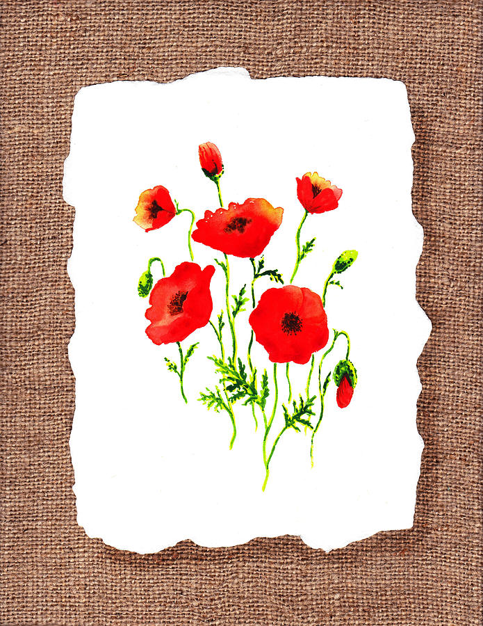 Red Poppies Decorative Collage Painting