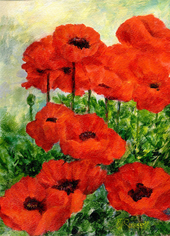 Red Poppies In Shade Colorful Flowers Garden Art PaintingPoppies Watercolor Painting