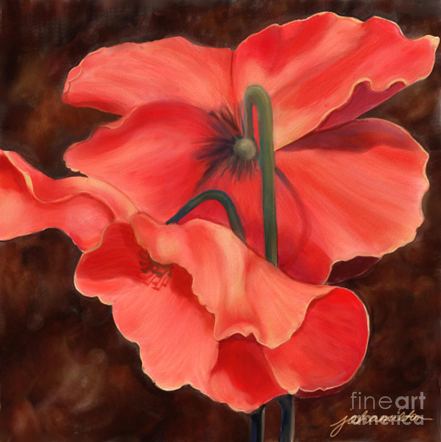 Red Poppy Three Digital Art  - Red Poppy Three Fine Art Print