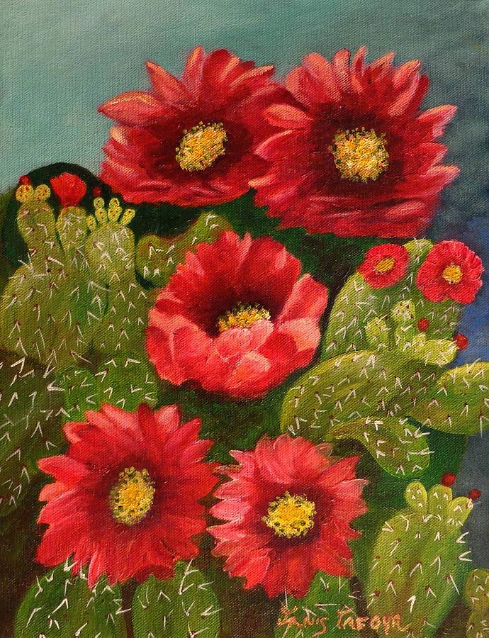 Red Prickley Pear Cactus Flower Painting  - Red Prickley Pear Cactus Flower Fine Art Print