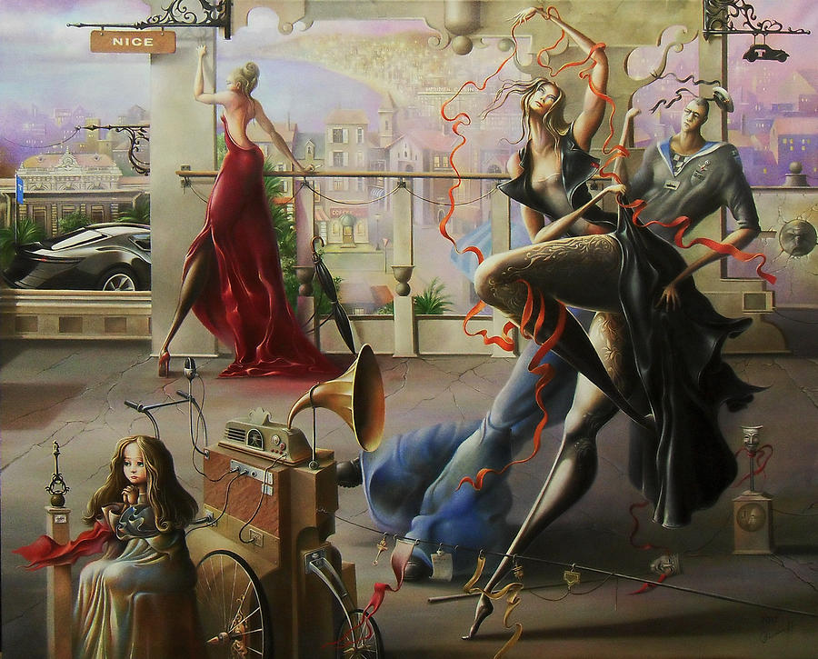 Nice Painting - Red Ribbons Of Evenings News.oh...damn Nizza. by Oleg  Osipoff