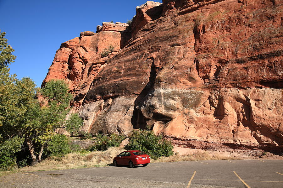 Red Rock And Red Car Photograph