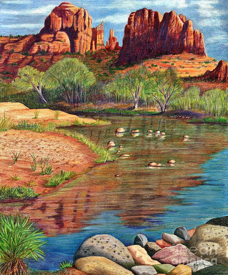 Red Rocks Drawing - Red Rock Crossing-sedona by Marilyn Smith