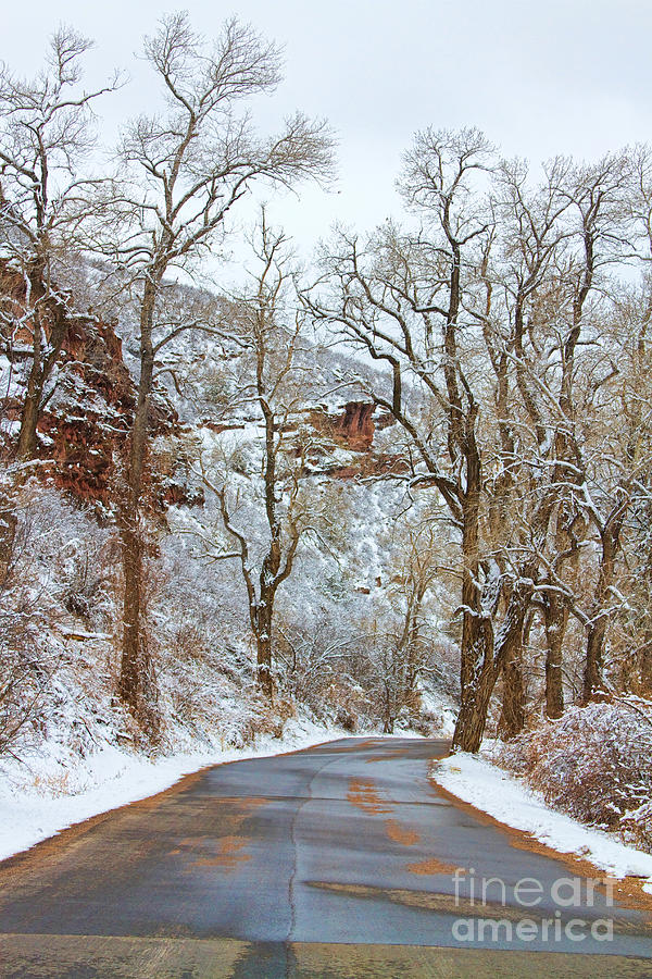 Red Rock Winter Road Portrait Photograph  - Red Rock Winter Road Portrait Fine Art Print
