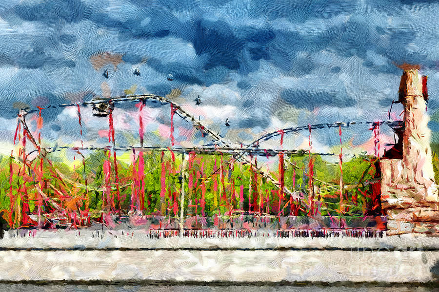 Red Roller Coaster Painting Painting