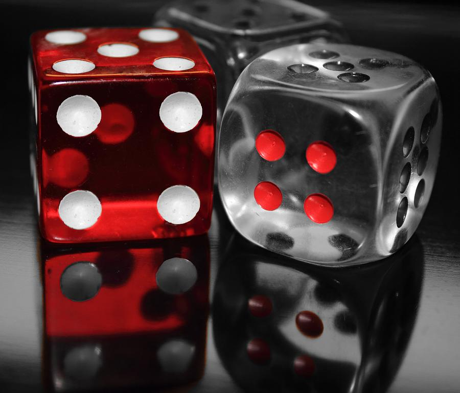 Dice Photograph - Red Rollers by Shane Bechler