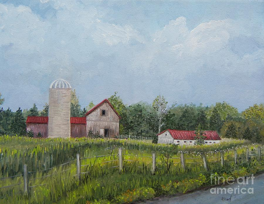 Barns Painting - Red Roof Barns by Reb Frost