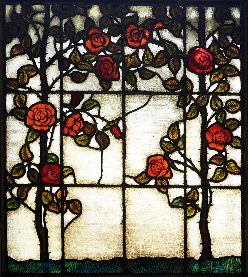 Red Stained Glass : Red rose stained glass window photograph by sally rockefeller